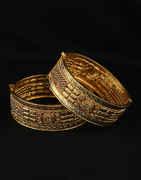 Gold Finish Designer Bangles Studded With Stones Set Bangles