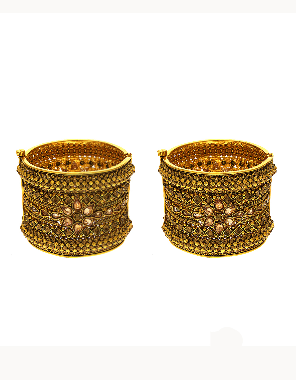 Gold Finish Floral Design Kada Bangles For Women Wedding