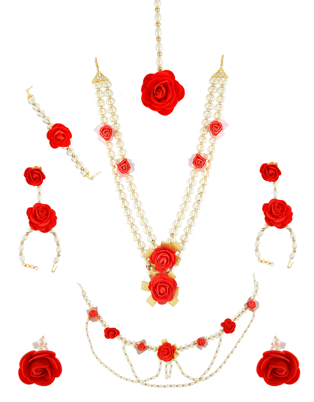 Red Flower Jewellery Styled With Pearls Artificial Flower  Necklace