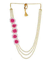 Pink Colour Haldigodh Bharai Flower Jewellery Pearls Handmade Jewellery