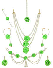 Green Colour Floral Jewellery Styled With Pearls Artificial Flower Jewellery