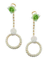 Green Colour Baby Showerhaldi Jewellery Styled With Pearls Flower Jewellery