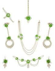 Parrot-Green Flower Jewellry For Godhbharai Flower Mehandi Jewellery