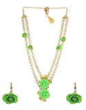 Green Colour Floral Jewellery Styled With Pearls Flower Jewellery For Wedding