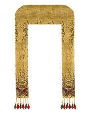 Gold Finish Ganpati Shawl Styled With Beads Ganpati Sajavat
