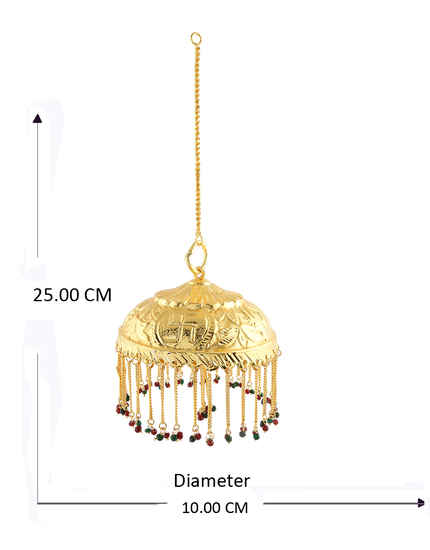 Gold Finish Adorable Hanging Chatra For Ganpati Sajavat