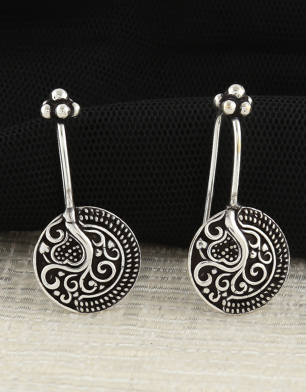 Oxidised  German Silver Bugadi Cuff Earrings for Women