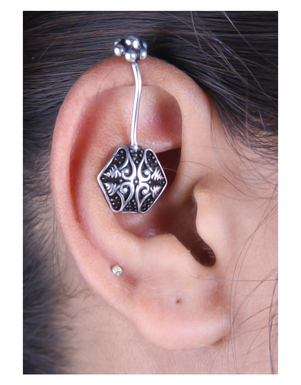Oxidised Cuff Earrings Featuring Intricate Carving Designs
