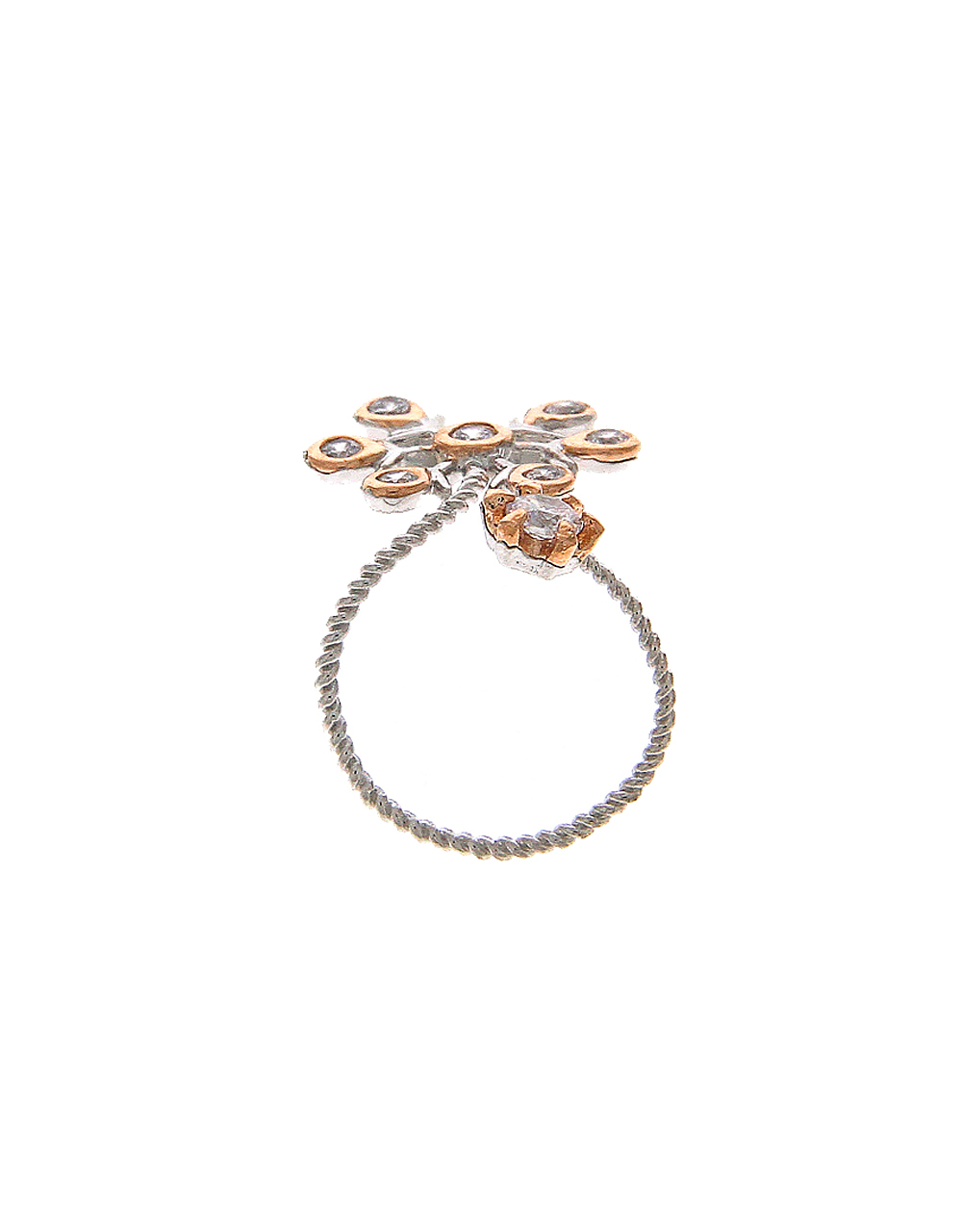 Silver Finish Flower Design Nail Ring