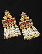 Peacock Design Gold Finish Pearl Long Earring