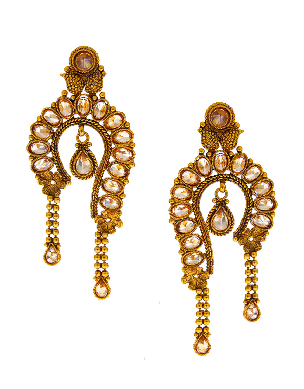 Gold Tone Designer Earring Studded With Stones Fashion Earring