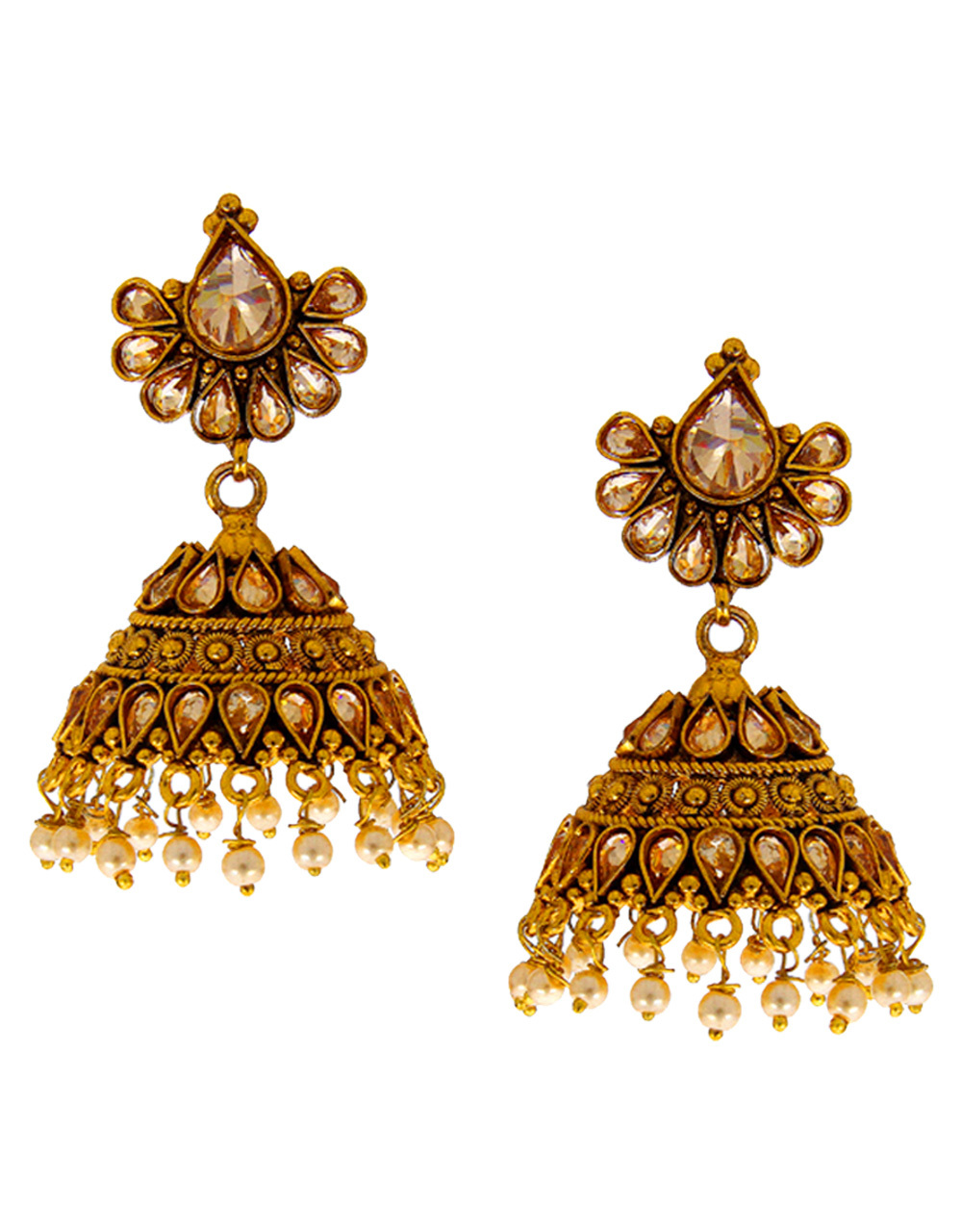 Designer Antique Gold Finish Jhumki Studded With Stones Zumki