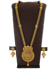 Gold Finish Traditional Long Necklace Studded With Stones Antique Jewellery
