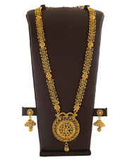 Antique Gold Finish Fancy Long Necklace For Wedding