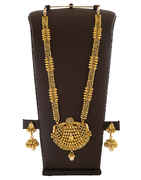 Gold Finish Fancy Necklace Styled With Pearls Long Jewellery Set