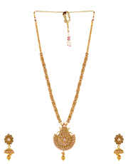 Gold Finish Long Jewellery Studded With Stones Fashion Necklace