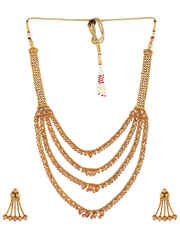 Fashionable Traditional Long Necklace Studded With Stones Jewelry Set
