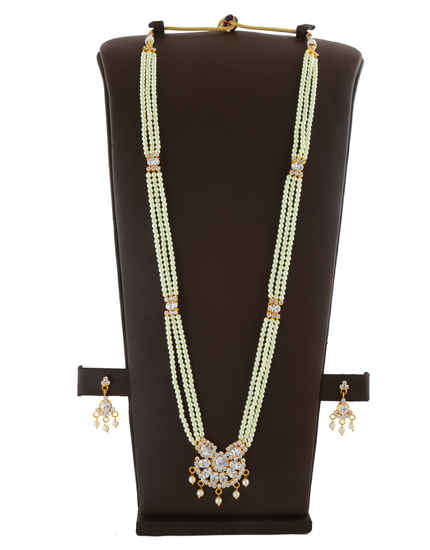 Gold Tone Moti Necklace Studded With Stones Moti Haar For Wedding