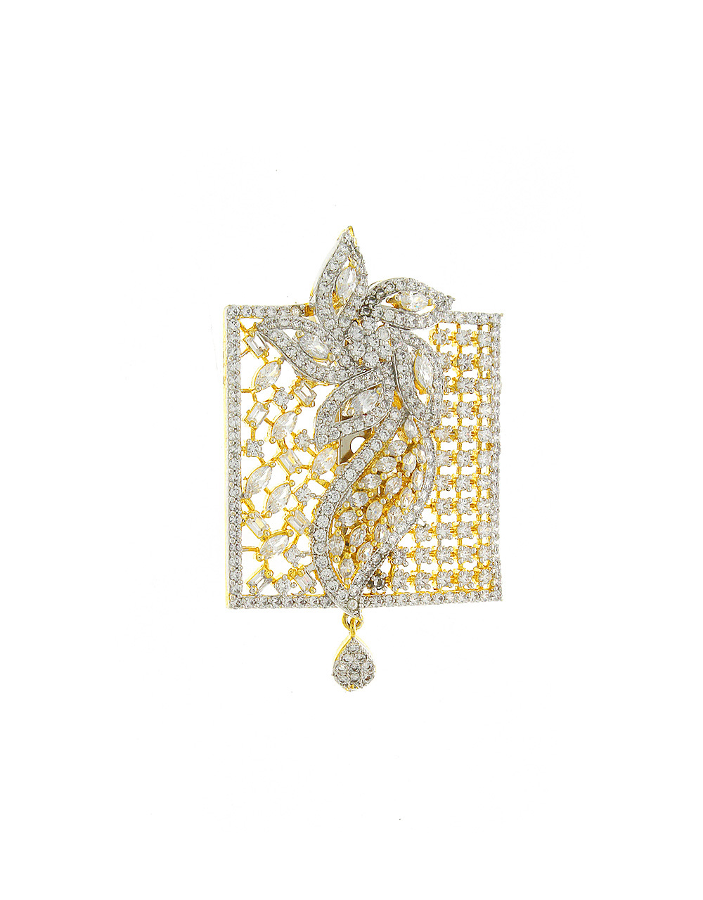 Gold Finish Brooch Studded With American Diamonds Groom Brooch