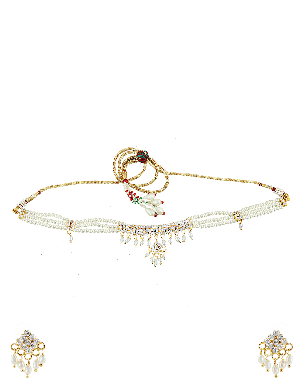 White Colour Gold Finish Styled With Stones Moti Pearls Jewellery Set