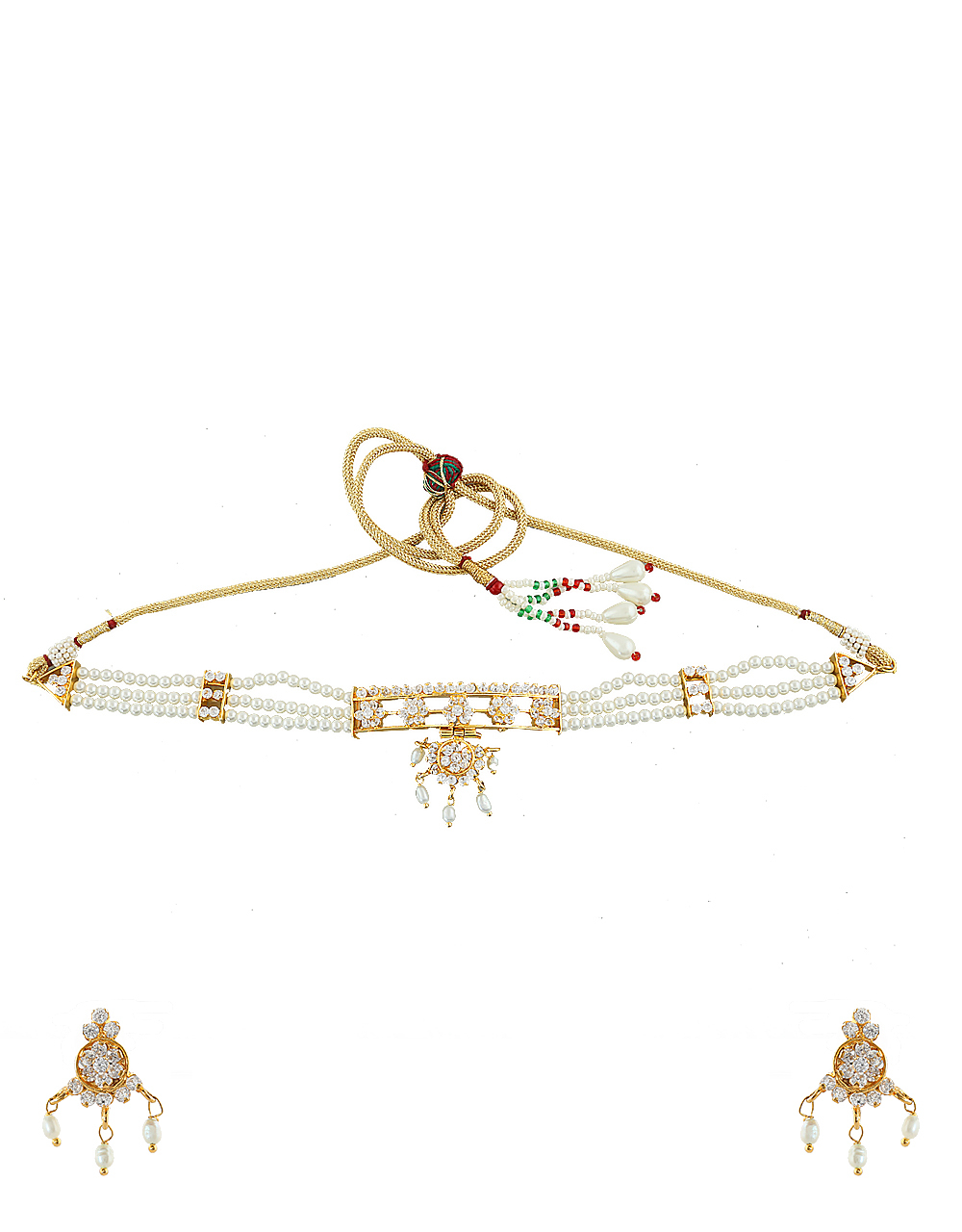 Moti Choker Necklace Styled With Pearls And Sparkling Stones