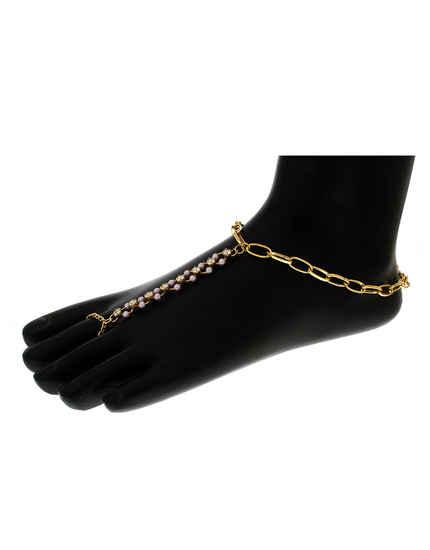 Pink Colour Gold Finish Anklet