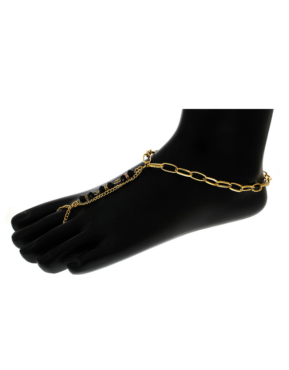 Black Colour Fancy Anklet Studded With Stones For Fashion