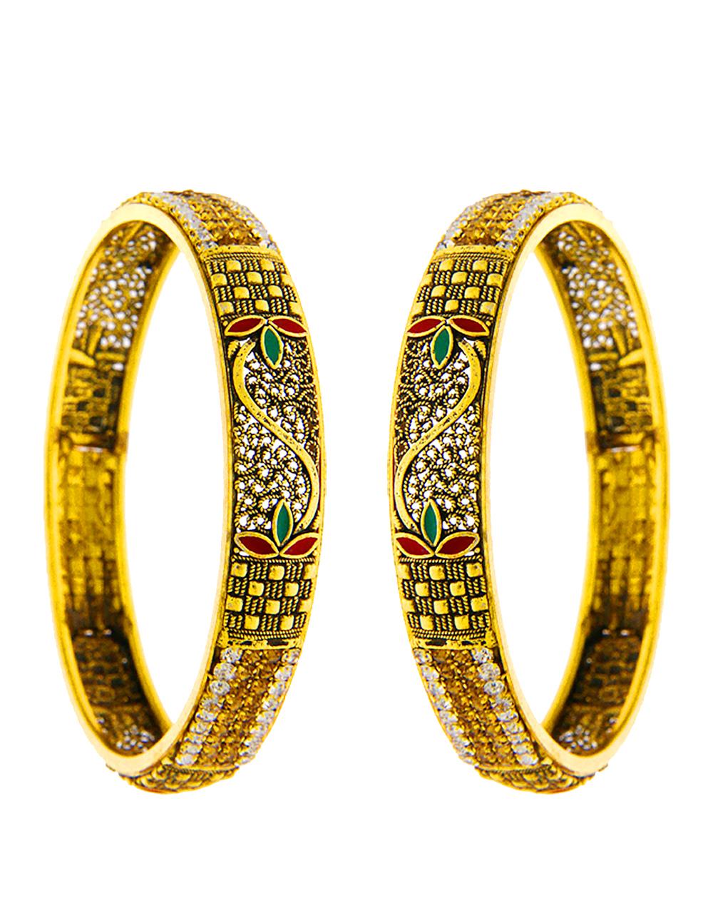 Antique Finish Designer Bangles Studded With Stones Bangles For Women