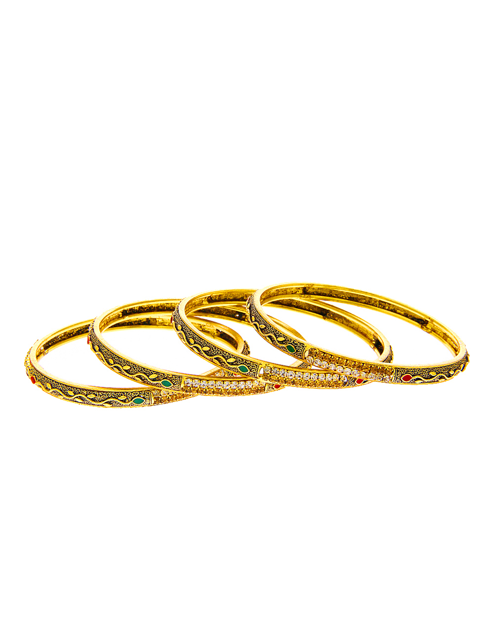 Antique Gold Finish Bangles Studded With Stones Bangles Set