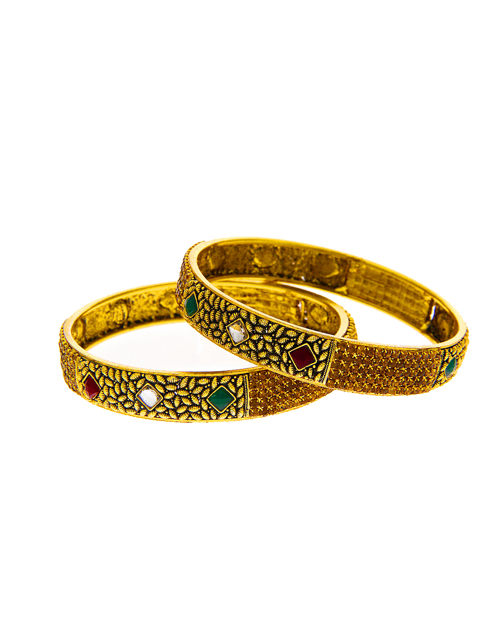Antique Finish Bangles Studded With Stones Classic Bangles