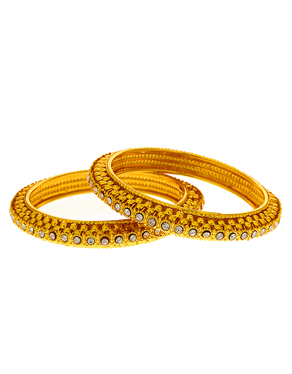 Adorable Gold Tone Bangles Studded With Stones Kada Bangles