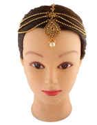 Gold Finish Designer Matha Patti Studded With Stones Mang Tika Jewellery