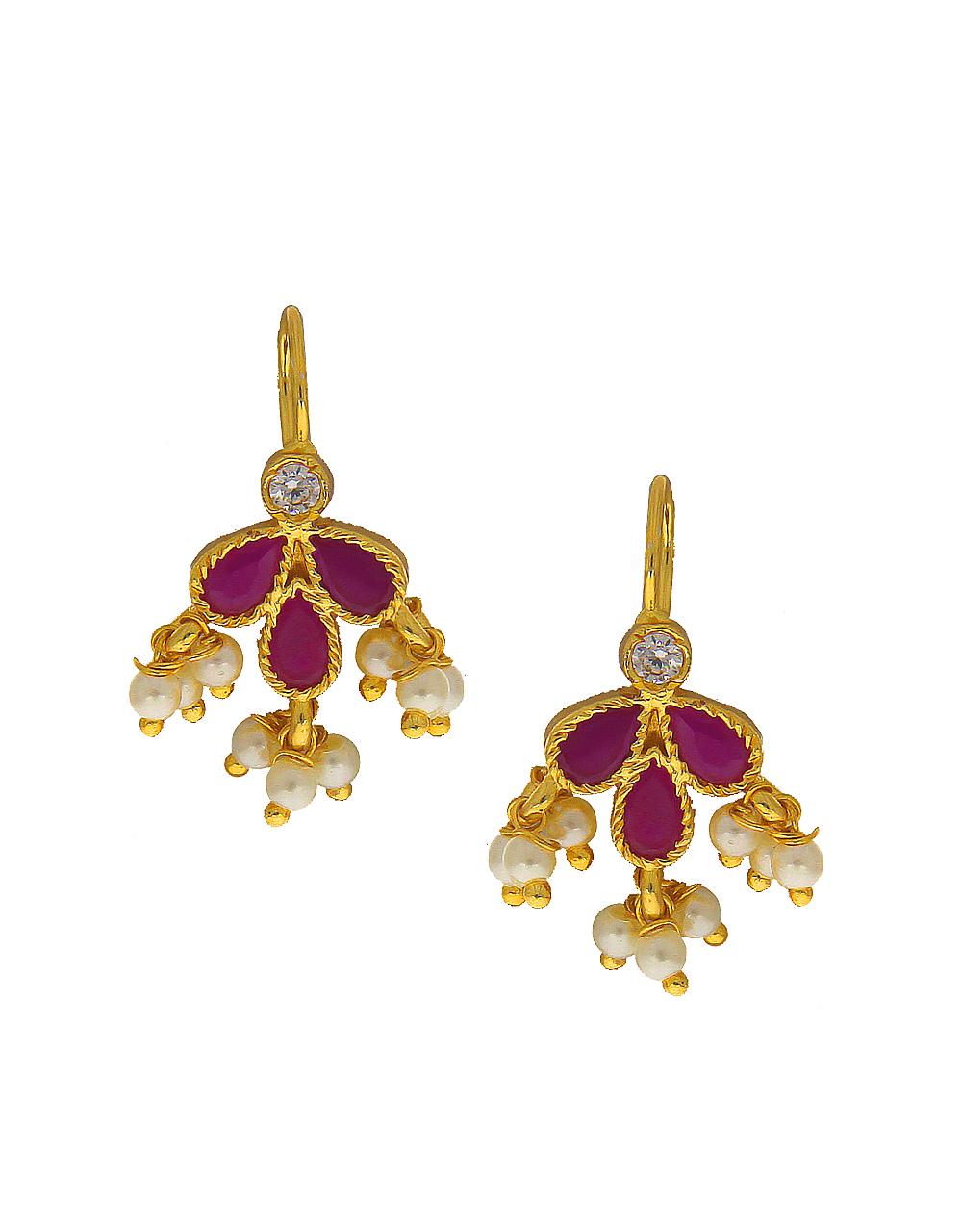 Pink Colour Adorable Bugdi Earring Styled With Pearls Beads Earring Jewellery