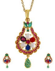 Multi Colour Floral Design Fashionable Diamond Pendant Set