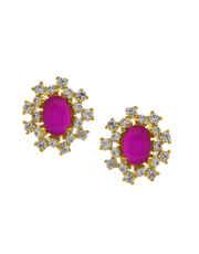 Pink Colour Floral Design Diamond Pendant Set