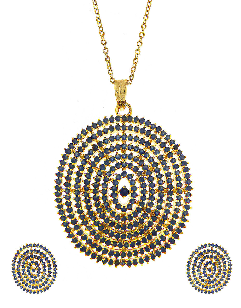Blue Colour Gold Finish Diamond Pendant Accessories