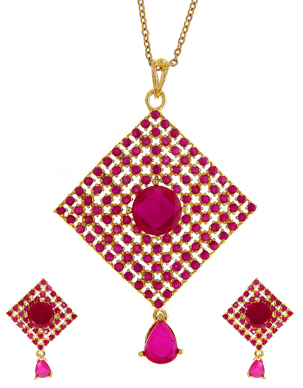 Pink Colour Gold Finish Fancy Pendant Set For Wedding