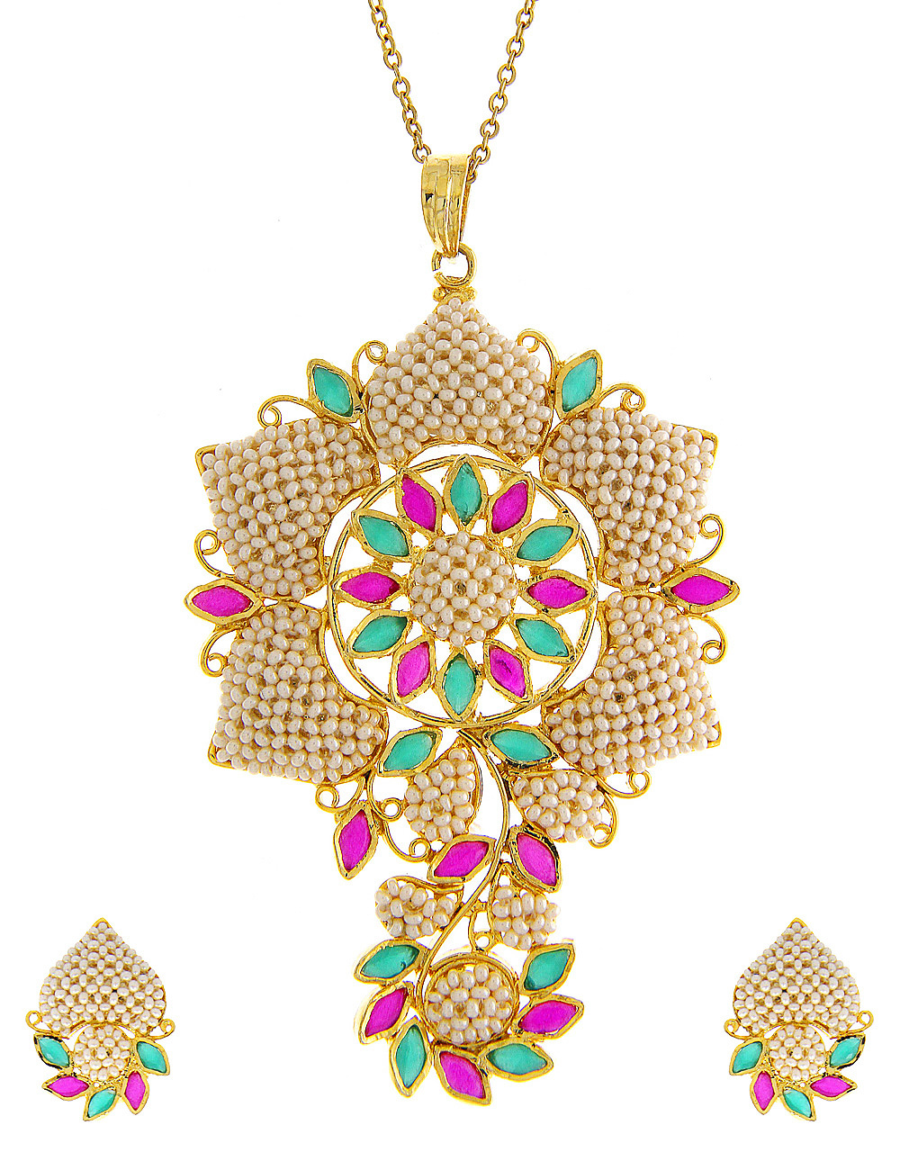 Multi Colour Moti Pendant Styled With Pearls Jewellery