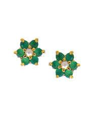 Green Colour Simple Floral Design Pendant Set