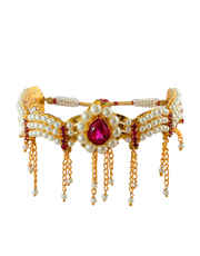 Maharashtrian Bajuband Styled with Pearls and  Stones for Women