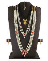 Designer Pearls Styled Gauri Ganpati /Mahalakshmi Combo Set