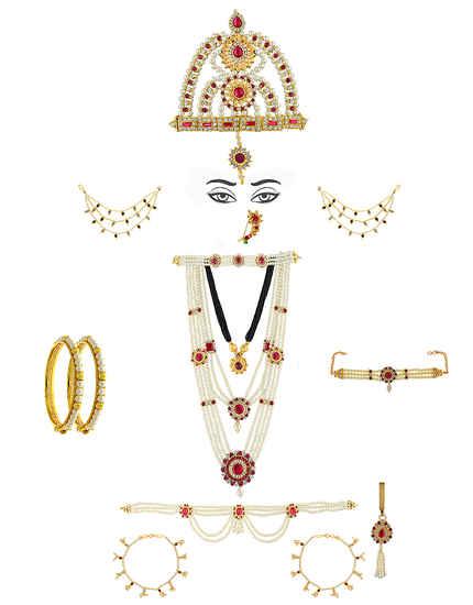 Moti Necklace Jewellery Styled With Stones Mahalakshmi Combo Set