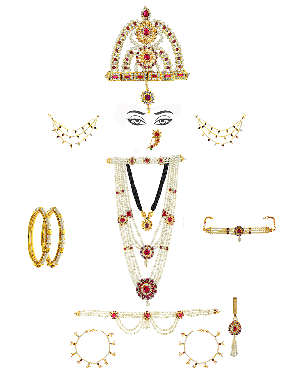 Moti Necklace Jewellery Styled With Stones Mahalakshmi Combo Set