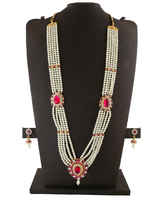 Pink Colour Pearls Necklace Studded With Stone Gauri Mahalakshmi Jewellery