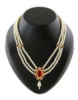 Temple Moti Haar Necklace For Mahalakshmi Sajavat Combo Set