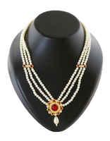 Red Colour Traditional Moti Har For Mahalakshmi Combo Set