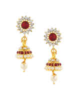 Red Colour Traditional Moti Har For Mahalakshmi Combo Set