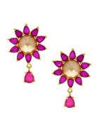 Pink Colour Floral Design Diamond Earring For Women