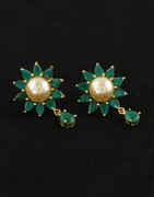 Green Colour Floral Design Simple Diamond Tops