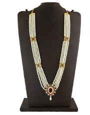 Gold Finish Multi Colour Maharashtrian Moti Necklace